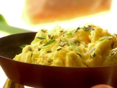 Velvet Scrambled Eggs with Fresh Herbs Recipe : Melissa d'Arabian : Food Network Herb Recipes, Cooking Recipes, Vegetarian Recipes, Thm Recipes, Soup Recipes, Brunch Recipes, Breakfast Recipes, Breakfast Ideas, Egg Dish