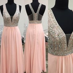 2016 Beautiful Ping Long Prom Dresses,Simple Deep V-neck Beaded Evening Dresses For Teens,Modest Prom Dress