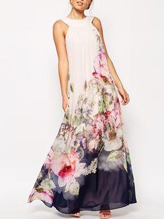 White Sleeveless Florals Chiffon Maxi Dress
