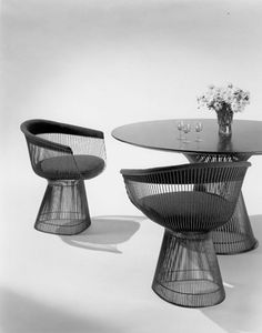 "Our Timeline and History | Knoll 1966 The Platner Collection Knoll introduces the Platner Collection by Warren Platner. He asks: ""Why separate support from the object. Just make it all one thing. Starts at the floor and comes up and envelops me, supports me."""