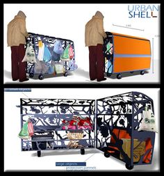 Urban Shell Shelter  An idea for keeping the homeless mobile and protected from the public eye