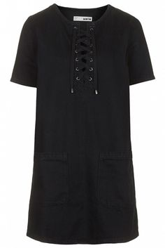 Topshop Moto Black Denim Lace-Up Dress in Black