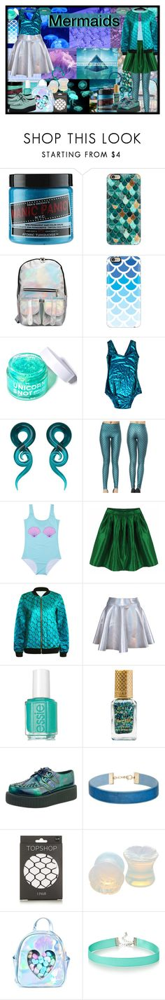 """HALLOWEEN COSTUME IDEAS//MERMAIDS"" by chemicalfallout249 ❤ liked on Polyvore featuring INDIE HAIR, Nicole Miller, Jeffrey Campbell, Manic Panic NYC, Casetify, FCTRY, Starstyling, Barry M, Miss Selfridge and Topshop"