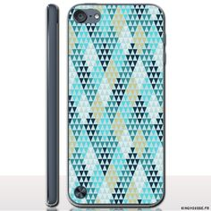 iPod Touch 6 Coque Diamants Bleu - Coque personnalisée rigide pour Apple iPod Touch 6. #ipodtouch6 #bleu #diamonds