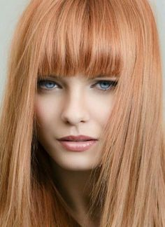 OMG totally in love with this stunning strawberry blonde hair inspo 😉 looking for a change? Lob Hairstyle, Hairstyles With Bangs, Cool Hairstyles, Hairstyle Ideas, Wedding Hairstyles, Formal Hairstyles, Hair Ideas, Red Hair With Bangs, Brown Blonde Hair