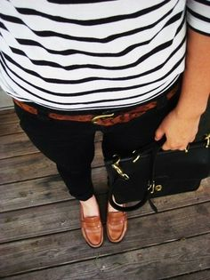 Love this outfit!  The black and white with brown belt, shoes and bag.