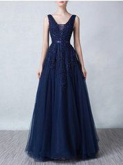 Backless Embroidery Beading V Neck Party Dress