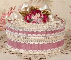 Victorian Rose Keepsake / Trinket / Hat  Box - Med Round- Vintage Style - Hand Decorated