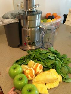Fruity Green Juice Recipe... I kinda wish I had a centrifugal juicer sometimes, just for speed. Oh well. I get more from my greens with mine!
