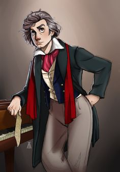 Ludwig van Beethoven--even deafness couldn't stop him from pursuing his passion. Was in the mood for a more serious/involved piece, and let's face it: B. Classical Music Composers, Russian Literature, Music Memes, Gorillaz, Music Stuff, Chibi, Natural Hair Styles, Fan Art, Deviantart