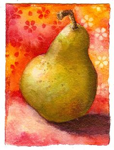 Art du Jour by Martha Lever: Pear on Pink Watercolor Painting Techniques, Watercolor Projects, Painting & Drawing, Watercolor Paintings, Watercolors, Watercolor Fruit, Fruit Painting, Abstract Watercolor, Pyrus
