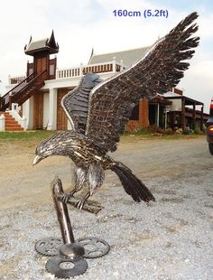 american eagle sculpture life size scrap metal art for sale