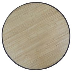 Bamboo Solid Area Rug 6 Round Natural Brown Size