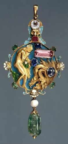 A Renaissance Revival gold, enamel and gem-set pendant, designed by Charles Ricketts, made by Carlo & Arthur Giuliano, circa 1904. Set with sapphires, emeralds, chrysolites, pink topaz, garnet, pearl and diamond. Made as a betrothal gift for Thomas Sturge-Moore and his cousin Maria Appia who were married in 1904. #Rickets #Giuliano #pendant