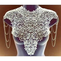 Steampunk lace WHITE bib detachable collar necklace with chain... (105 CAD) ❤ liked on Polyvore featuring jewelry, necklaces, tiered necklace, lace necklace, chain necklace, white bib necklace and chain collar necklace