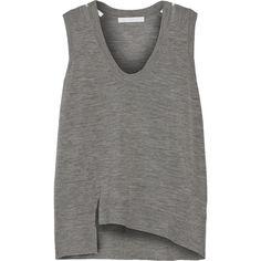 Alexander Wang Wool-blend top (150 BAM) ❤ liked on Polyvore featuring tops, shirts, tanks, t-shirts, grey, gray shirt, transparent shirt, asymmetrical hem top, alexander wang and sheer top