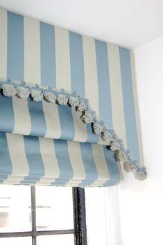pelmet and roman blind combination | Roman blind pelmet with fan-edge trim