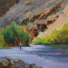 A Day Out, fly fishiing, oil painting, mary maxam, nw landscapes, fishing art