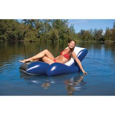 Intex Floating Recliner Inflatable Swimming Pool Lounge With Secure Cup Holders Floating Lounge Chairs, Pool Chairs, Pool Floats For Adults, Cool Pool Floats, Inflatable Chair, Inflatable Float, Portable Pools, Pool Lounge, Pool Toys