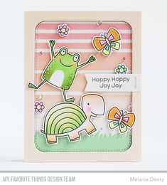 Stamps: Toad-ally Awesome, Too-Cute Turtles  Die-namics: Toad-ally Awesome, Too-Cute Turtles, Stitched Rounded Rectangle STAX, Grassy Fields, Tag Builder Blueprints 5  Stencil: Envelope Buddy    Stephanie Klauck  #mftstamps