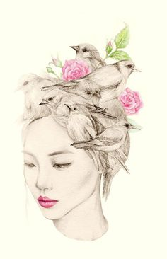 Whimsical Drawings by OkArt,OkArt is a passionate designer based in Seoul, South Korea. Inspired by natural elements, OkArt's work is often themed as a girl portrait with birds. Art And Illustration, Pencil Drawings Of Girls, Bird Drawings, Art Design, Graphic Design, Bird Art, Oeuvre D'art, Painting & Drawing, Amazing Art