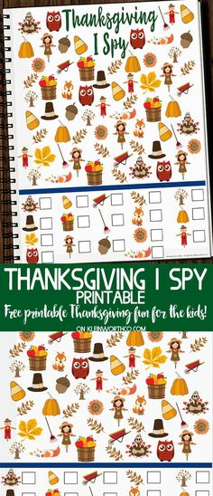 Free Thanksgiving I Spy Printable – FUN printable to keep the kids busy while waiting for Thanksgiving dinner. Fun & free fall kids activity! via @KleinworthCo