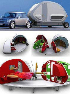 The 252° Living Area springs from the creative mind of French designer Stephanie Bellange. Small enough to be towed by a Mini, the 3-wheeled trailer features supporting feet that spread automatically once the trailer's outside shell is opened. The interior parts follow, much like the petals of a blossoming flower.