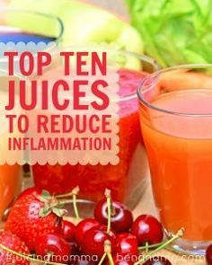 Top Ten Juices to Reduce Inflammation -- One of the stark differences juicing has made for me is the reduction of inflammation. After about 10 days of my fast last month, I realized I could see my ankles again. I always have painful inflammation around those joints, so experiencing the diminishing of both the swelling and pain is a welcome benefit to juicing. #juicing #juicingmomma