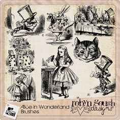 Alice In Wonderland Photoshop Brushes and Clip art 36 Images by John Tenniel by Robyn Gough on Etsy, digital scrapbook, digiscrap, photoshop brushes, scrapbook brushes, mad hatter, tea party, cheshire cat, alice,