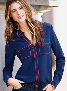Classic details meet luxury in the Silk Button-down Shirt from Victoria's Secret. The blouse you'll want to wear everywhere, with a fluid drape and matte sheen.