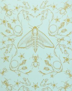 Whimsical insect wallpapers by Wilful Ink available at The Pattern Collective. Vintage Wallpaper Patterns, Victorian Wallpaper, Pattern Wallpaper, Antique Wallpaper, Collateral Beauty, Victorian Pattern, Insect Art, Beautiful Bugs, Blue Wallpapers