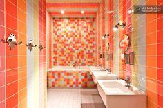 The colourfull, big bathroom.....