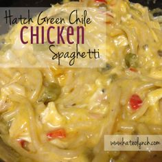 Hatch-Green-Chile-Chicken-Spaghetti - Sounds interesting, gotta try it at least once. Hatch Recipe, Hatch Green Chili Recipe, Green Chili Recipes, Hatch Chili, Green Chili Chicken, Spicy Recipes, Mexican Food Recipes, Cooking Recipes, Chicken Recipes