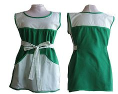 Plus Size Apron  Green and White Polka dots  by timelessaprons, $58.00