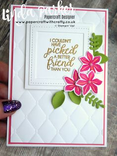 Linda Parker UK Independent Stampin' Up! Demonstrator from Hampshire @ Papercraft With Crafty : A Beautiful Bouquet & Tufted Dynamic TIEF- Clean & Simple Cards For Friends, Friend Cards, Envelope Punch Board, Embossed Cards, Friendship Cards, Stamping Up, Greeting Cards Handmade, Stampin Up Cards, Your Cards