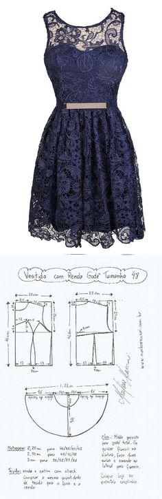 Vestido com Renda Godê. Um vestidinho jovial que pode ser feito com vários…