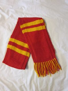 Hand Knit Red and Gold Scarf. $19.99, via Etsy.