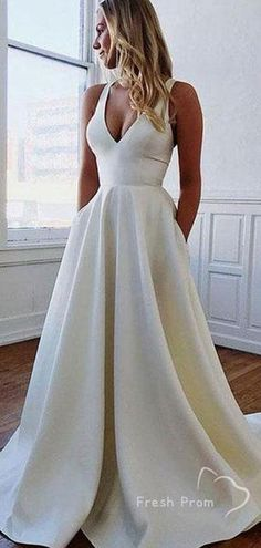 A-line V neck Cheap Long Prom Dress Bowknot Elegant Formal D.- A-line V neck Cheap Long Prom Dress Bowknot Elegant Formal - Plain Wedding Dress, Top Wedding Dresses, Wedding Dress Chiffon, Wedding Dress Trends, Elegant Wedding Dress, Bridal Dresses, A Line Wedding Dress With Sleeves, Ivory Wedding, Semi Formal Wedding