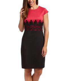 Fuchsia & Navy Lace-Print Sheath Dress