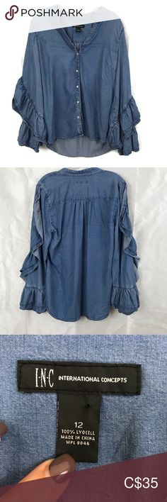Anna Sui I.N.C. Ruffle Sleeve Chambray Denim Shirt Anna Sui exclusive design for Macy's & Inc. A unique piece that isn't your standard denim.  It is a compliment grabber.  I don't find the stock photo gives it much credit. Hi Low Pearlized western fastened type snap buttons Measurement are approximate and in inches:  P2P 21 Back length 26 Front 22  🌟Top Rated Seller 💌 All items shipped in 48hrs 🛍 All Reasonable offers accepted ♥️ 10% off on all bundles & $9.99 shipping INC International… Ruffle Sleeve, Ruffle Blouse, Plus Fashion, Fashion Tips, Fashion Design, Fashion Trends, Anna Sui, Denim Shirt, Top Rated