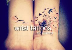 Wrist tattoos, I personally love this tattoo of the dandelion being blown away