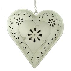 Hanging Heart Cream Tea Light Holder Lantern Votive Daisy Decoration