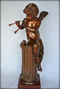 Amour musicien statue en bronze
