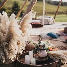 How beautiful is pampas grass! It's all over the wedding scene at the moment and luckily it grows naturally all around beautiful Biarritz! Wedding Lounge, Tipi Wedding, Wedding Scene, Outdoor Wedding Venues, Floral Wedding, Our Wedding, Wedding Flowers, Bohemian Wedding Decorations, Alternative Bride