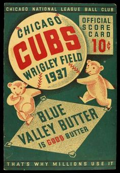 This page contains an image of a Wrigley Field Chicago Cubs scorecard from the 1937 season. Chicago Cubs Baseball, Baseball Art, Baseball Signs, Baseball Odds, Baseball Memes, Tigers Baseball, Baseball Posters, Cubs Win, Go Cubs Go