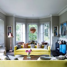 Grey Living Room with Yellow Sofas | Living Room Design Ideas (houseandgarden.co.uk)
