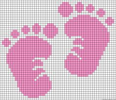 cross stitch baby feet (blue for Liam and add a monkey!)