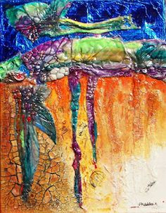 Tyvek, when touched with heat, can create some awesom texture for this acrylic painting.
