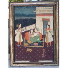 Dipinto indiano tecnica mista - harem con personaggi - primi '900
