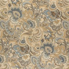 Gold, Blue And Green, Abstract Paisley Upholstery Fabric By The Yard